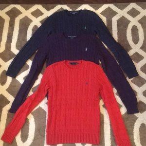 Ralph Lauren Crew Neck Cable Knit Sweater Lot Sz S